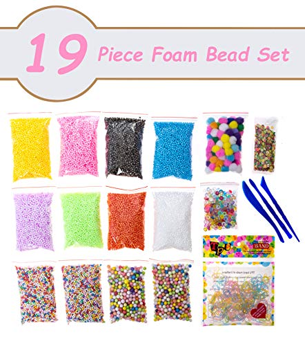 Sokoni Foam Beads Balls for DIY Slime, 19 PCS Decorative Floam Slime Beads for Arts Crafts, Homemade Slime, Fruit Flower Candy Slices - for Nail Art for Student Children Kids Christmas Gifts