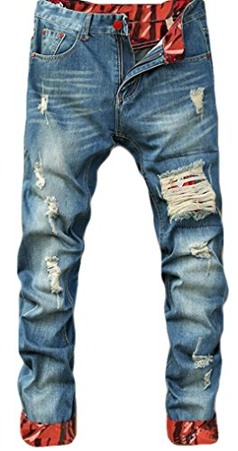Tomblin Men's Ripped Skinny Distressed Destroyed Straight Fit Zipper Biker Jeans With Holes (W34, D) (Jean Biker Jacket)