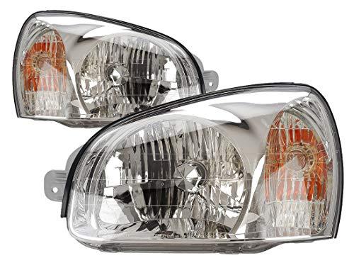 For 2001 2002 2003 Hyundai Santa Fe Headlight Headlamp Assembly Driver Left and Passenger Right Side Pair Set Replacement HY2502121 - Fe Santa Headlight Hyundai Headlamp