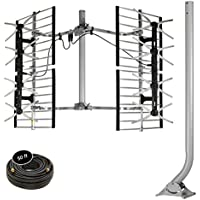 """Stellar Labs HDTV Bowtie Antenna & Mount Combo – Powerful 80-Mile Range For FREE Network TV Signals In Deep Fringe – Multi-Directional, Design – Easy Installation With Included 38""""J-Pole Mount & Coaxi"""