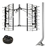 Stellar Labs HDTV Bowtie Antenna & Mount Combo - Powerful 80-Mile Range For FREE Network TV Signals In Deep Fringe - Multi-Directional, Design - Easy Installation With Included 38'J-Pole Mount & Coaxi