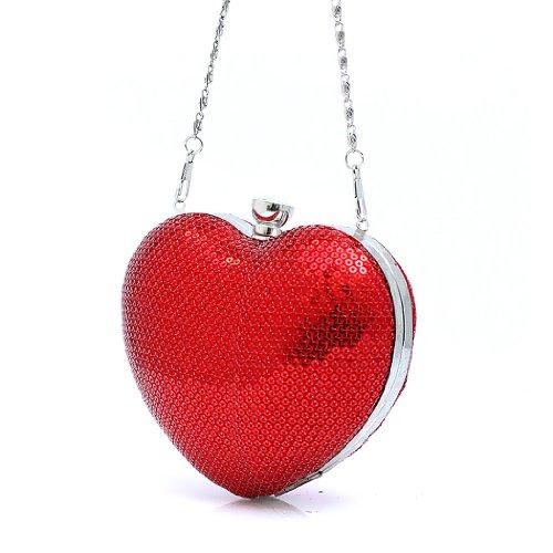 H:oter Frauen u. Mädchen Eleganz & Abschlussball-Partei-Abendhandtasche mit Kristall magischen Ring Griff, Handtasche, Geschenkideen - verschiedene Farben, Preis / Stück - rot