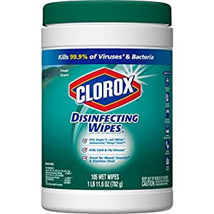 Clorox Disinfecting Wipes, Bleach Free Cleaning Wipes - Fresh Scent, 105 Count (Pack of 4) (Packaging May Vary)