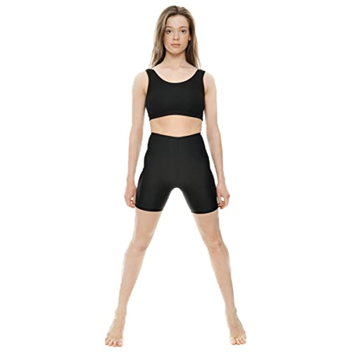 KDT005 Ladies Girls Childrens Black Shiny Lycra Dance Gym Sports Running Cycle Hot Pants Shorts By Katz Dancewear