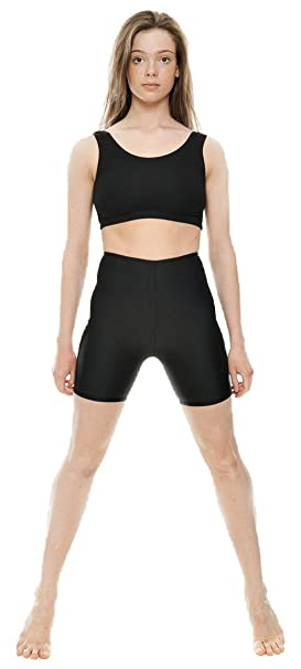 c8a8737fd3 KDT005 Ladies Girls Childrens Black Shiny Lycra Dance Gym Sports Running  Cycle Hot Pants Shorts By