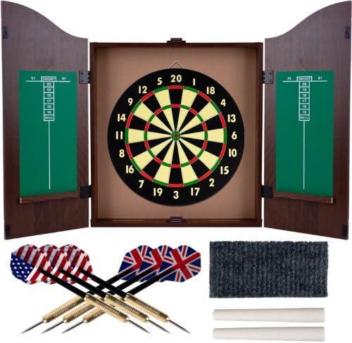 ウォールナット仕上げデラックス木製Dartboard Cabinetセット – Includes 6ダーツ。