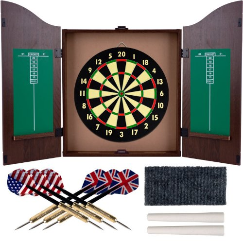 Walnut Finish Deluxe Wood Dartboard Cabinet Set - Includes 6 Darts! by TMG