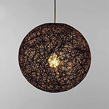✨Modern Lattice Wicker Rattan Globe Ball Style Ceiling Pendant Light Lampshade Creative Personality bar, Coffee Shop, Bedroom, Restaurant Home Simple Decoration Lighting (Black, 23cm)