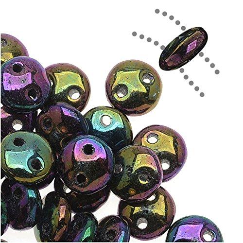 CzechMates Glass 2-Hole Round Flat Lentil Beads 6mm - Purple Iris (1 Strand)