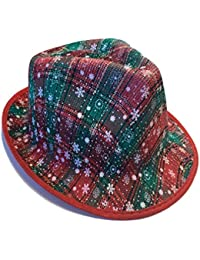 Ugly Christmas Sweater Fedora Christmas Hat - Perfect Plaid Fabric Party Hat for Ugly Sweater Party, Christmas Party Or Holiday Party (Green/Red Plaid)
