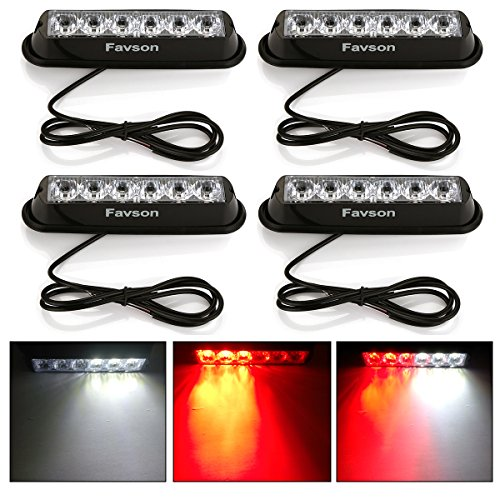 Favson 6 LED Strobe Lights for Trucks Cars Van with Super Bright Red&White Emergency Flasher(4 pcs)