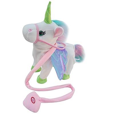 AnyBack Electric Walking Unicorn Stuffed Animals Plush Musical Pony Toys, Unicorn Plush Stuffed Animal Cute Pets Horse Toy Baby Boys Girls Kids Toddlers White 1: Pet Supplies
