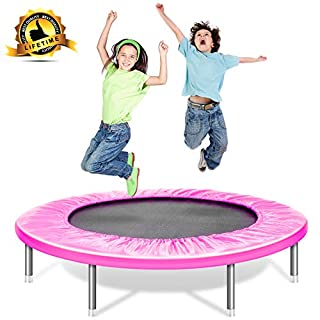 Shizzz, Kids Trampoline with bar,Foldable Mini Fitness Trampoline 36,38,45 inch with Safety Pad, Stable & Quiet Rebounder Indoor/Outdoor Max 180LBS