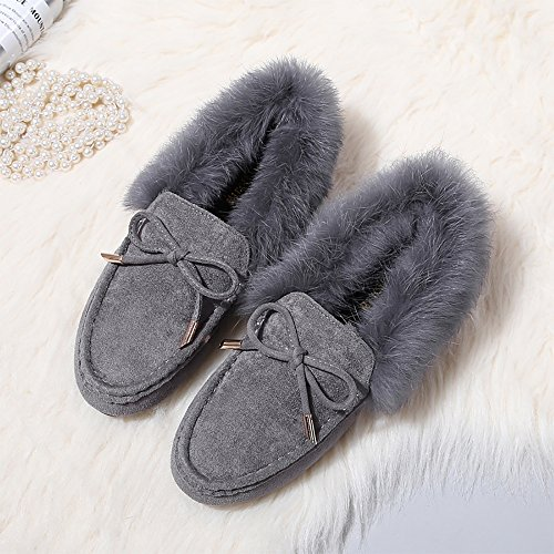 Moccasins Lined Fur Suede Slippers Indoor House Winter Womens Outdoor Meeshine Faux Grey CvxtwAaCq