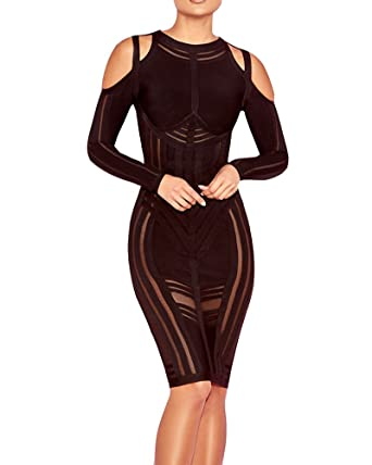 UONBOX Women s Sexy Cold Shoulder Long Sleeves Night Club Strappy Mesh Bandage  Dress (XS 4b775407b