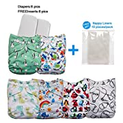 LBB Cloth Diapers Set With Adjustable Snaps Reusable,6 Diaper Covers+ 6 Inserts, Penguin, 6 Pack