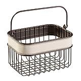 InterDesign Lauren Bathroom Storage Basket for Shampoo, Cosmetics, Beauty Products, Cream/Bronze