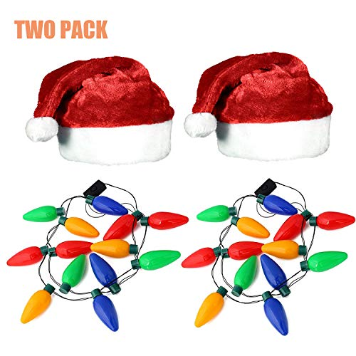 LKDEPO Christmas Party Kit 2 Pack, LED Christmas Bulb Necklace Christmas Elf Hat Combo - Christmas Necklace Measures 21