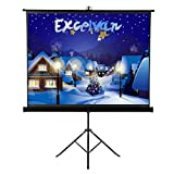 Projector Screen with Foldable Stand Tripod, Excelvan 100'' Diagonal HD 4:3 Pull Up Movie Screen for Home Theater Cinema Wedding Party Office Presentation