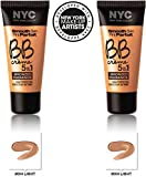 NYC New York Color BB Creme Foundation Bronze Light #004 LIGHT (1 fl oz) EACH (SET OF 2) PLUS A FREE LIP BALM BY MUA
