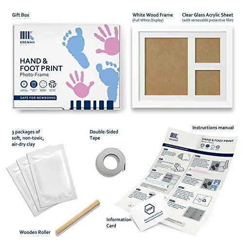 Kremah Baby Handprint Kit & Footprint Keepsake Box, Newborn Photo Frame Album, Unique Baby Gift Set for Shower Registry & Family First Birthday - Personalized for Girls & Boys Nursery Room Decoration by KREMAH BABY