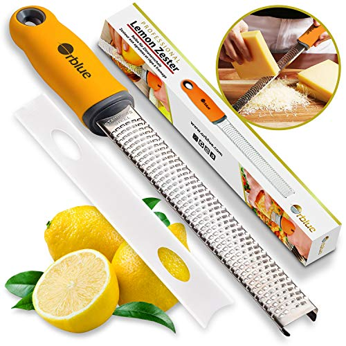 (Orblue PRO Citrus Zester & Cheese Grater - Kitchen Tool for Lemon, Parmesan, Ginger, Garlic, Nutmeg, Chocolate, Veggies, Fruits - Razor-Sharp Stainless Steel Blade + Protect Cover - Dishwasher Safe)
