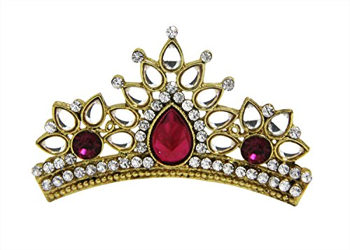 Crown Tiara For Women Girls Prom Queen Bridal Pageant Birthday Princess Headband Comb Pin Rhinestone Faux Crystal (RED3)
