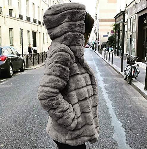 D'hiver Pour Furry Femmes Fnkdor Cardigan Épais En À Manteaux B Occasionnels Outercoat Gris Capuche Chaud Fausse Veste Fourrure AY1pwY