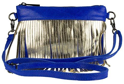 Girly Metallic Suede Fringe Clutch Royal Leather Italian Bag Blue Handbags wfrwxq7U