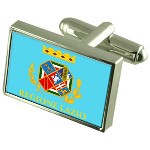 Lazio Region Italy Sterling Silver Flag Cufflinks Engraved Box by Select Gifts