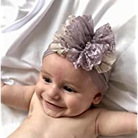 Handmade Newborn Headband with Dusty Purple Fabric Flower and Rhinestone, Best For 0-12 months old