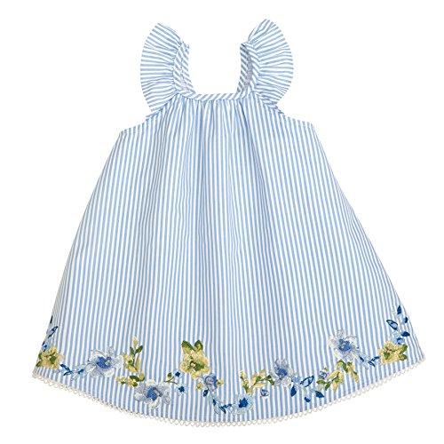 Mud Pie Baby Girls Floral Striped Flutter Sleeve Casual Dress, Blue, 2T (Striped Flutter Sleeve Dress)