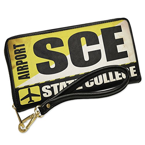 Wallet Fold State College Bi (Wallet Airportcode SCE State College Men's Bifold ID Case - Neonblond)