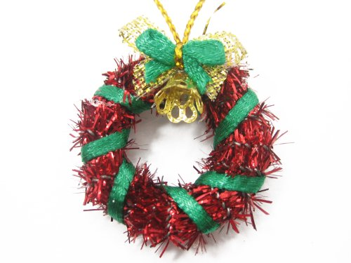 Decorations Wholesale Christmas (Dolls House Miniature Christmas Decoration Red Wreath Holly Ornament Deco Supply Charms - 7212)