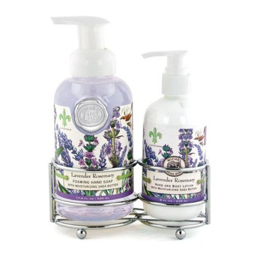 Michel Design Works Foaming Hand Soap and Lotion Caddy Gift Set, Lavender Rosemary (Gift Lavender Set Lotion)