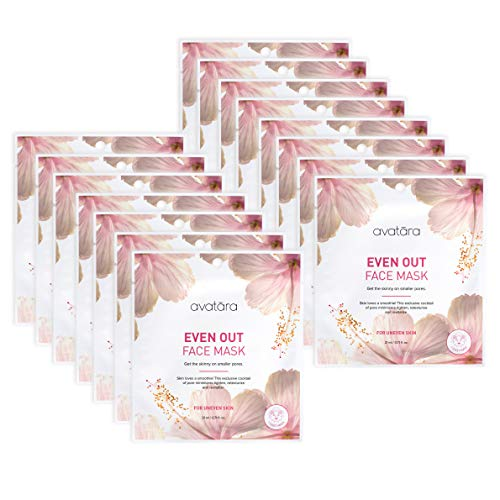 Avatara Even Out Face Mask 15 PC Pack, Tightens, Retextures, Revitalizes Uneven Skin, Shrinks Pores