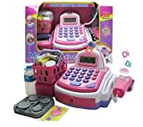 toys for girls cash register - Lvnv Toys @ Activity Learning Family Battery Operated Electronic Cash Register Toy Pretend Play Microphone, Scanner, Money and Credit Card, Groceries With Sound Pink