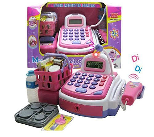 Lvnv Toys @ Activity Learning Family Battery Operated Electronic Cash Register Toy Pretend Play Microphone, Scanner, Money and Credit Card, Groceries With Sound Pink
