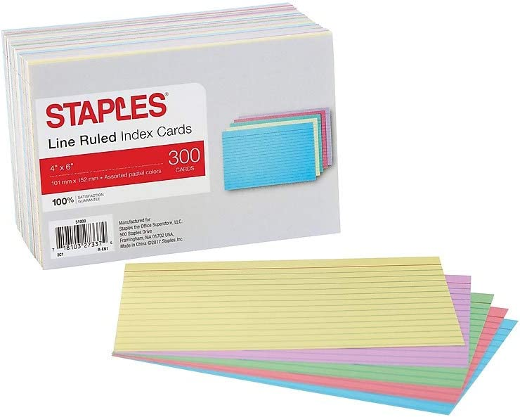 100 Cards per Pack Top Flight Index Cards 4630725 Rainbow Colors 4 x 6 Inches Ruled