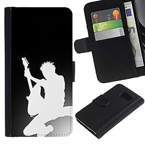 Protector de cuero de la PU de la cubierta del estilo de la carpeta del tirón BY RAYDREAMMM - Sony Xperia Z3 Compact - Silueta de la guitarra