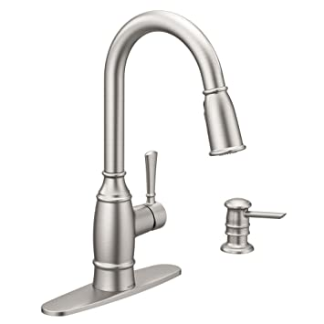 Moen Noell Single Handle Pull Down Sprayer Kitchen Faucet With Reflex And Soap Dispenser In Spot