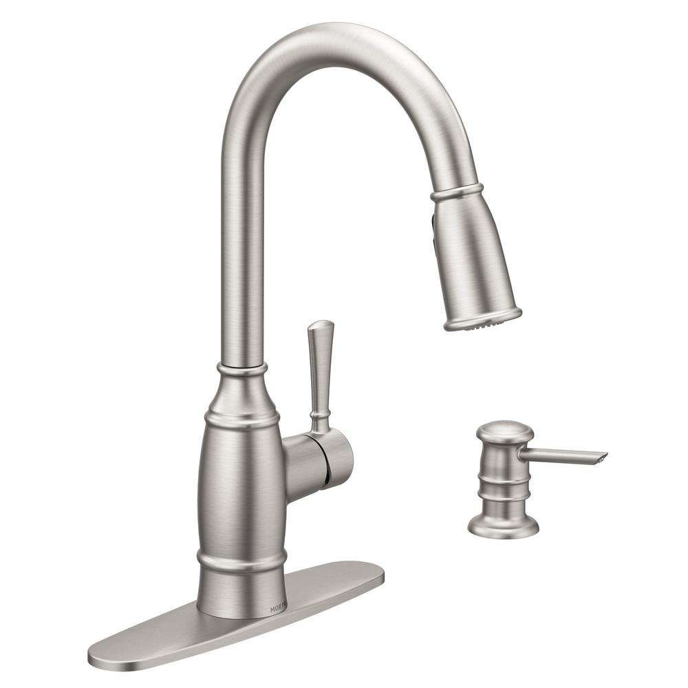 MOEN Noell Single-Handle Pull-Down Sprayer Kitchen Faucet with Reflex and Soap Dispenser in Spot Resist Stainless