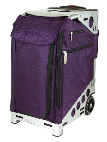Zuca Pro Artist Collection - Royal Purple Insert Bag on Silver Frame, with a standard packing pouch set + TSA toiletry bag and matching travel cover