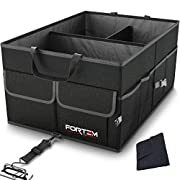 FORTEM Car Trunk Organizer for SUV Truck | Auto Durable Collapsible Cargo Storage | Non Slip Bottom Strips to Prevent Sliding | Securing Straps Included