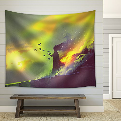 Burning Woman Illustration Painting Fabric Wall