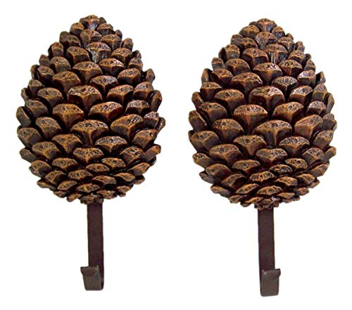 Decorative Pinecone - Cast Resin Pine Cone Decorative Hanging Wall Hooks, 8 Inch, Pack of 2
