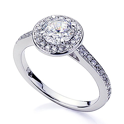 Platinum Plated Sterling Silver 1ct Stunning Round CZ Halo Wedding Engagement Ring ( Size 5 to 9 ), 5