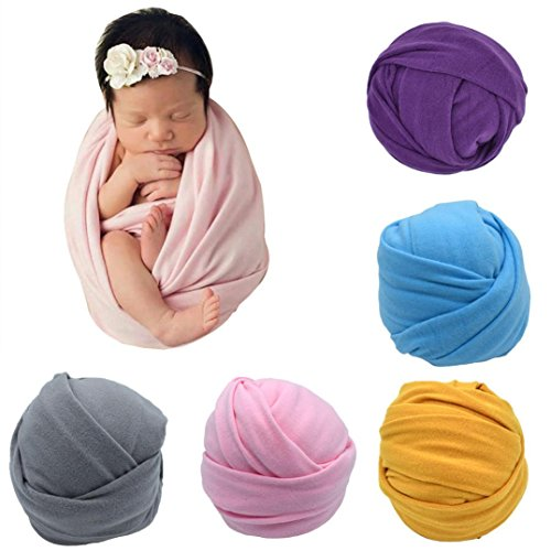(Sunbona Newborn Baby Boys Girls Stretch Wrap Blanket Swaddle Posing Cover For Photography Prop)