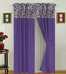 Fresca Purple and Gray Curtain Set