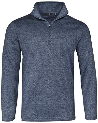 Fleece Zip Neck Shirt (Beverly Hills Polo Club Men\'s 1/4 Zip Mock Neck Fleece Sweater, Navy, Small')